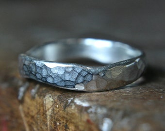 "Recycled sterling silver ""curvy"" wedding ring. Hammered Finish. Hand made to order in the UK"
