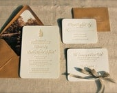 Rustic Letterpress Wedding Invitations DEPOSIT