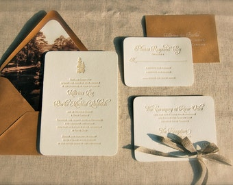 Rustic Letterpress Wedding Invitations DEPOSIT