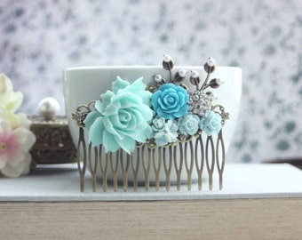 Blue Flower Comb, Something Blue, Aqua Wedding Comb, Aqua Turquoise Blue Comb, White, Rhinestones Pearls, LARGE Wedding Comb, Blue Wedding