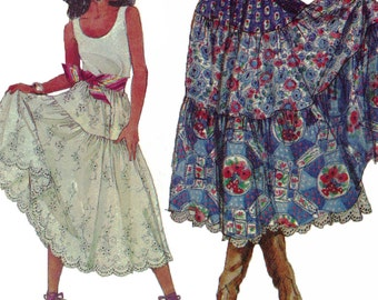 Romantic Peasant Skirt! Vintage ©1990 Simplicity Sewing Pattern 9737, Misses' Skirts and Petticoat, Size H5 (6-14), Uncut with Factory Folds
