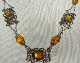 Vintage Czech Necklace--Faux Topaz