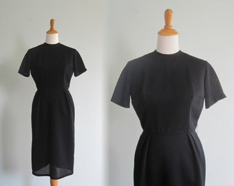 Chic Black Wiggle Dress with Textured Fabric - Vintage 60s Black Honey Dress - Vintage 1960s Dress S M