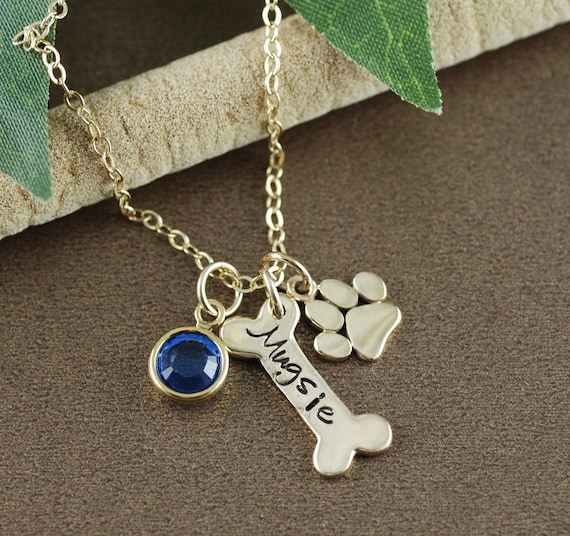 Personalized Gold Dog Bone Necklace, Dog Paw Necklace, Animal Lover, Dog Paw, Dog Bone, Dog Mommy Necklace, Dog Necklace, Memorial Pet Gift