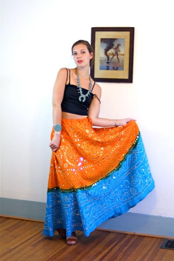 Rajasthani Gypsy Maxi Skirt Bandhani Tie & Dye Indian Bright Turquoise Blue Orange Mirrored Cotton Ethnic Hippie Boho Long Belly Dance skirt