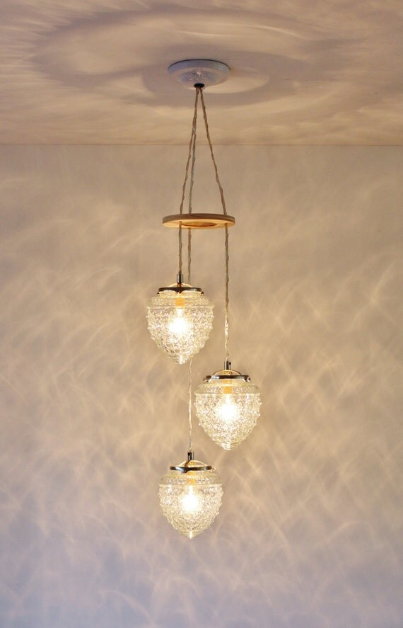 Falling Acorns Chandelier Hanging Pendant Lighting Fixture, Cascading Raspberry Shaped Glass Shades, Modern BootsNGus Lamps, Bulbs Included