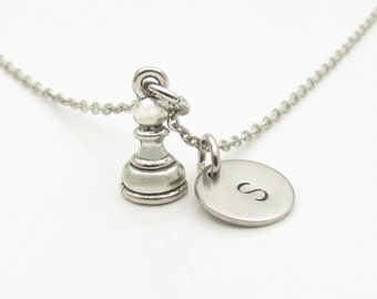 Paw Necklace, Chess Pawn Necklace, Chess Piece Charm, Personalized, Monogram Initial Necklace, Silver Chess Pawn, Chess Player Necklace Y342