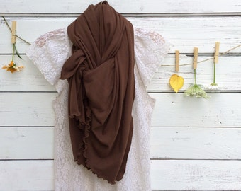 Brown Scarf, Jersey Scarf, Long Scarf, Jersey Knit Scarf, Wrap, Shawl, Oversized Scarf, Fall Scarf, Winter Scarf, Gift for Her, Jannysgirl