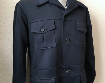 Vintage Mens 70's Leisure Jacket, Navy Blue, Polyester, Button Up by Farah (L)