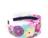 Spring & Summer Shabby Chic Colorful Extra Wide Headband - Turquoise, Pink, Yellow - Easter Headband for Girls or Adults - Fabric Covered