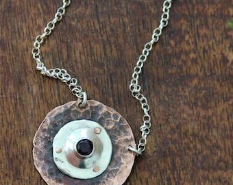 Shield pendant - Copper and silver pendant - Ruby pendant - Hammered pendant - Mixed metal pendant