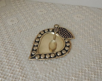 Brass Spade Shaped Serving Tidbit Tray with Spoon. Primitive Handcrafted Brass Nut Dish.
