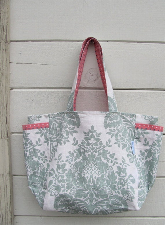 Darling Damask and Dots Upcycled Weekender - Modern Sage & Cream Linen Market / Diaper Bag - Eco Friendly Fashion - Under 50 Mom / Sis Gift