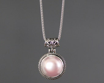Pink Pearl Necklace - Bali Silver - Single Pearl Necklace - Pink Pearl Pendant - Bridal Jewelry - Statement Jewelry - Jewelry Gift for Her
