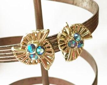 Aurora Borealis Earrings, Gold Earrings, Gold Screw Back Earrings, Blue and Gold Earrings, Blue Rhinestone Earrings, Gold Fan Earrings