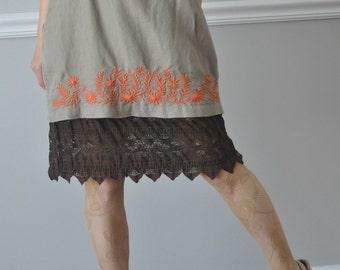 Slip Extender - Brown Lace Raffle Trimmed Slip, Skirt Extender, Lace Skirt Extender, Size - XS S
