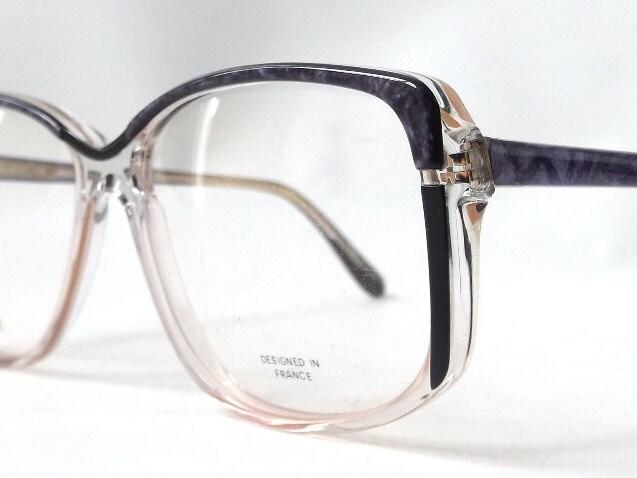vintage 80s 90s cazal style eyeglasses purple black clear plastic ...