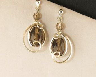 Brown Smoky Quartz Gemstone Dangle Drop Earrings, Sterling Silver Asymmetrical Unique Wire Wrapped  Earrings