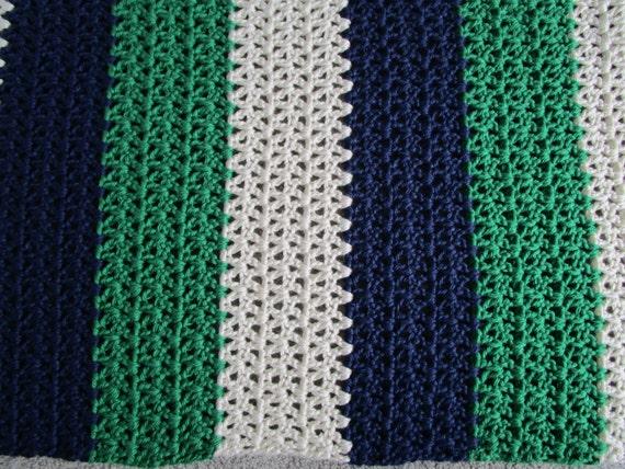 Nautical Blocks Bulky Yarn Blanket Easy Crochet Afghan
