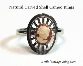Carved Shell Cameo Silver Ring with Adjustable Band in Modernist Motif - Vintage 60's New Old Stock Costume Jewelry