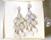 SIMAN TU Moonstone Chandelier Earrings, Natural Gemstone Silver Bridal Earrings, Haute Couture Statement Clip On Runway Dangle Earrings NOS