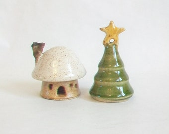Mushroom Fairy House  Plus  a Pine Tree with a Star  on Top - Speckled Stoneware - Handmade, Wheel Thrown - Actual Set - Ready to Ship