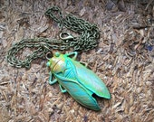 Rustic Nature BUG Pendant - Bug - Cicada  - hand painte patina - EPSTEAM - big bug necklace - Victorian bug jewelry -  unique odd strange