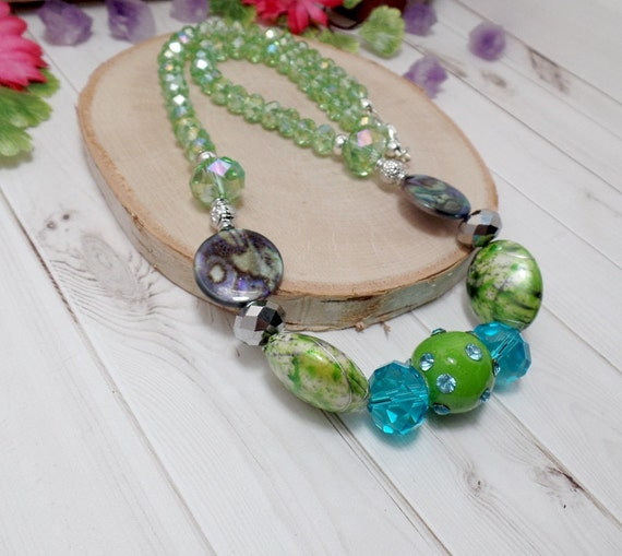 Green & Blue Beaded Necklace - OOAK - Statement Necklace - Free US Shipping