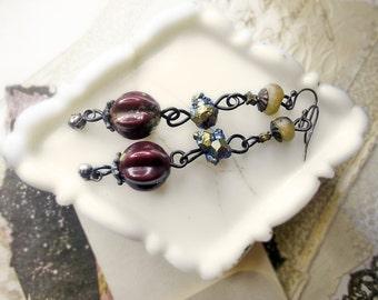 Rustic Beaded Earrings - Metal & Gemstone - Vintage Tarnished Fluted Metal, Rainbow Titanium Citrine Nuggets, Handmade Polymer Clay, Steel