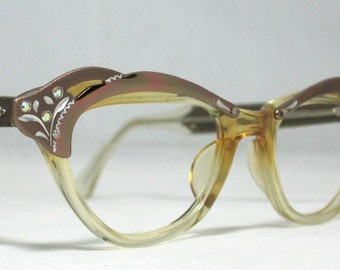 Vintage 60s Small Cat Eye Glasses. Beautiful Copper and Clear Etched Frames