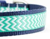 "Green and Blue Chevron Dog Collar - Mint Chevron Collar - Chevron Dog Collar - 1' or 3/4"" Wide"
