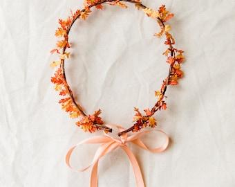autumn leaves flower crown // orange fall leaves floral headpiece flower hair wreath