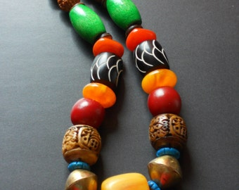 NLO1692 Nyong Chunky Statement Necklace Rudraksha Carved Horn Wood Brass Mali Beads