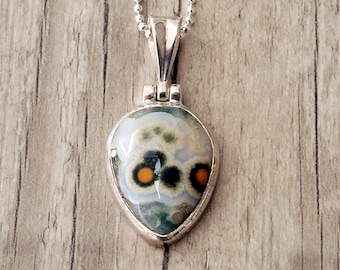 Ocean Jasper Necklace, Ocean Jasper Gemstone Pendant Necklace, Wearable Art Jewelry, Jasper Jewelry Orbicular Jasper Sterling Silver Pendant