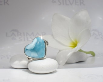 Larimarandsilver ring size 6.5, I Love Orca - navy blue Larimar heart, blue heart ring, London blue, dolphin stone, handcrafted Larimar ring