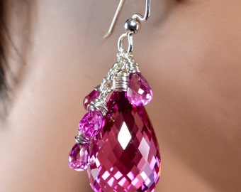 LP 1340 Hot Pink Lab Topaz Briolette And Quartz Earrings