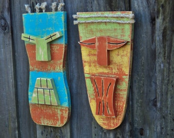 Tiki Mask, Tiki Man, Primitive Wall Hanging, Wood Sculpture, Rustic Beach House