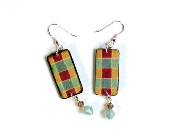 Summer Dangle Earrings Decoupaged Wood Crystal Rectangle Drop Earrings Yellow Rust Mint Green Check Pattern Boho Jewelry Gifts for Her