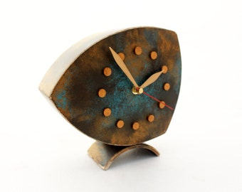 FREE SHIPPING - Table clock, Desk Clock, Clock Brown - Gold - Turquoise, Wood Clock,  Wooden Clock, Unique Gift, Shaded clock
