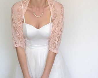 Rose quartz lace shrug, bridal shrug, floral wedding bolero, lace shawl cover up, pink wedding accessories