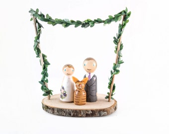 Rustic Cake Topper - rustic wedding cake topper - cat wedding cake topper - cat cake topper - rustic cat cake topper - floral cake topper