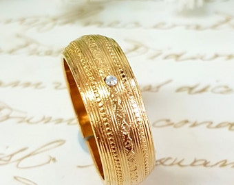 Filigree Wedding Band, Gold Wedding Ring, Moroccan Wedding, Moroccan Inspired, Cubic Zirconia Wedding Band, Thick Band, Wide Wedding Band
