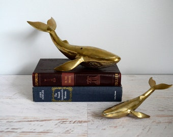 Vintage Brass Figurines, Whale Mom and Baby, Solid Nautical Decor, Heavy Pair, Gold Hollywood Regency, Humpback Whale