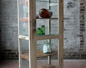 Industrial Drugstore Cabinet Reclaimed Vintage Retail Display Curio Medical Cabinet Wood and Glass Cottage Chic Boho Import Furniture