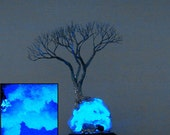 "Wire Tree Of Life, The Wisdom of Intuition sculpture, Quartz Geode, LED wood base lamp, blue Lapis, Botswana Agate, handmade unique art, 12"""