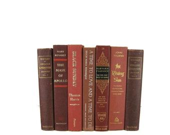 Brick Maroon Earth Tone Vintage   Books, Vintage Wedding Decor, Vintage  Photography Prop