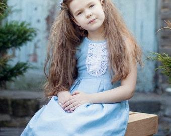 Blue girl dress - Light blue flower girl dress - Toddler girl linen dress - Summer girl dress - Rustic flower girl dress - Linen lace dress
