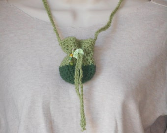 green crystal pouch necklace drawstring stash pouch by Peace Stitch Studio