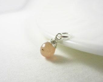 Light Peach Sapphire Bangle Charm - Tanzanian Umba Sapphire Jewelry - Sterling Silver Personalized Jewelry - 14k Gold Dangle Charms