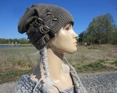 Post Apocalyptic Clothing Slouchy Beanie Hat Olive Brown Cotton Distressed Leather Belts Acid Washed Skull Cap  A1672